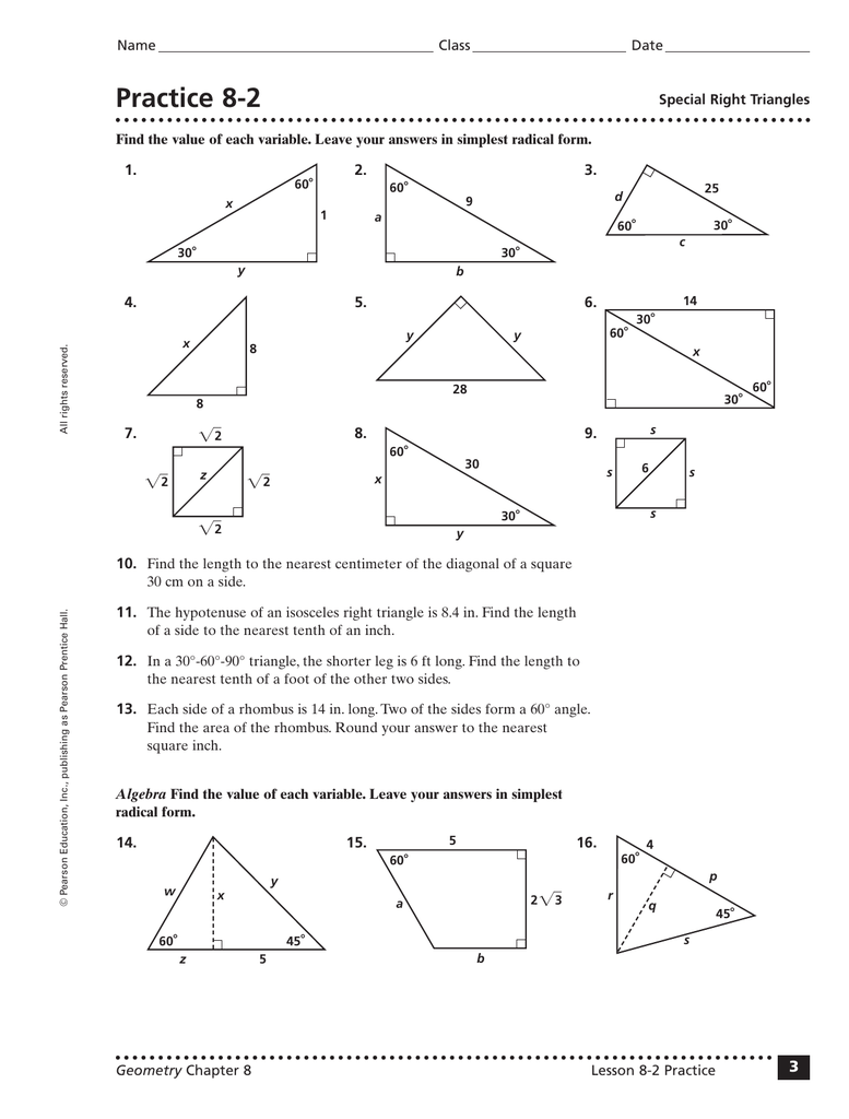 Geometry Worksheet 8 1 Similar Right Triangles Answer Key ...