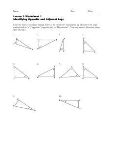 Name_______________________________________________Date____________Class______  Label the sides of each right triangle below as the... Lesson 2 Worksheet 1