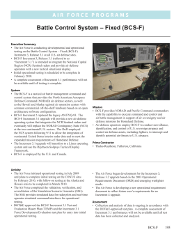 Battle Control System – Fixed (BCS-F)