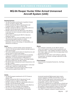 MQ-9A Reaper Hunter Killer Armed Unmanned Aircraft System (UAS)