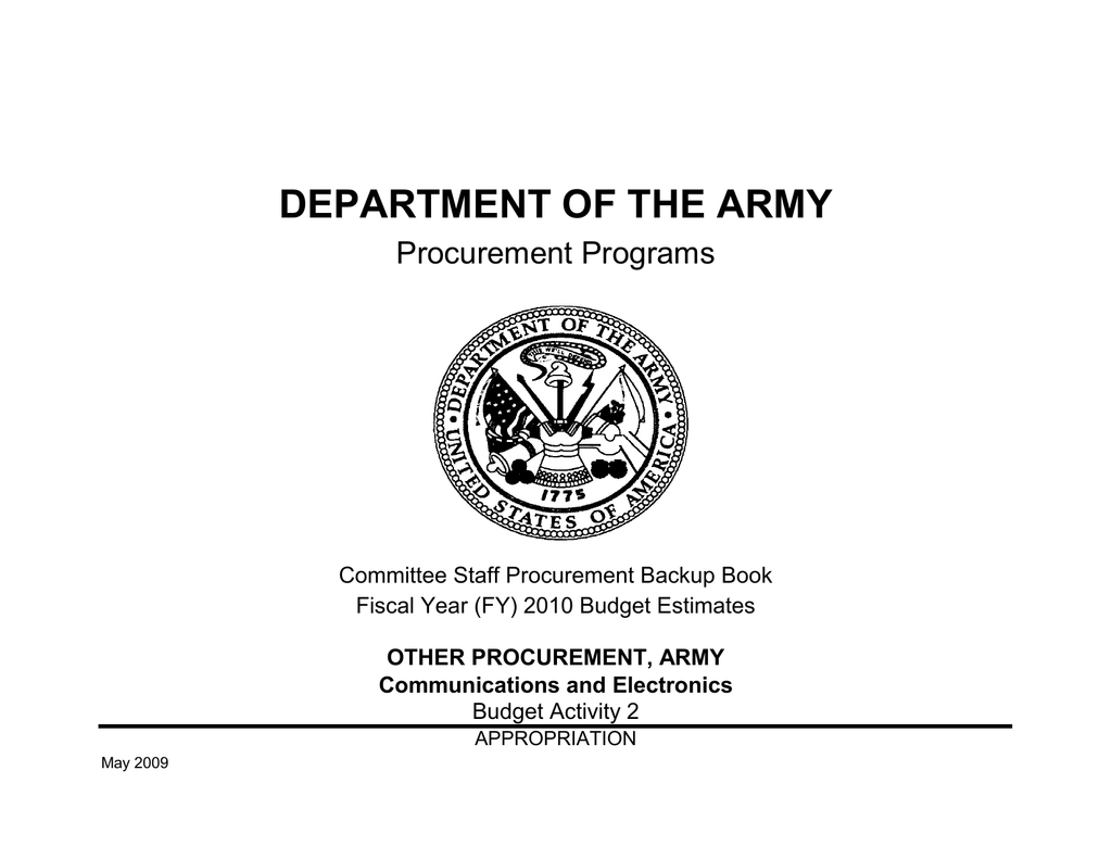 DEPARTMENT OF THE ARMY Procurement Programs Committee Staff