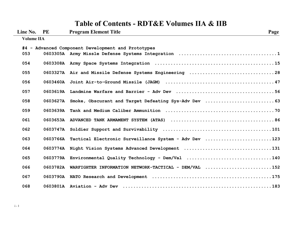 Table of Contents - RDT&