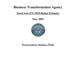 Business Transformation Agency  May 2009 Procurement, Defense-Wide