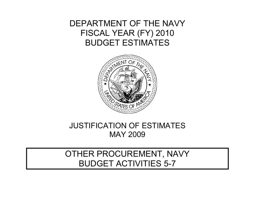 DEPARTMENT OF THE NAVY FISCAL YEAR (FY) 2010 BUDGET ESTIMATES OTHER on