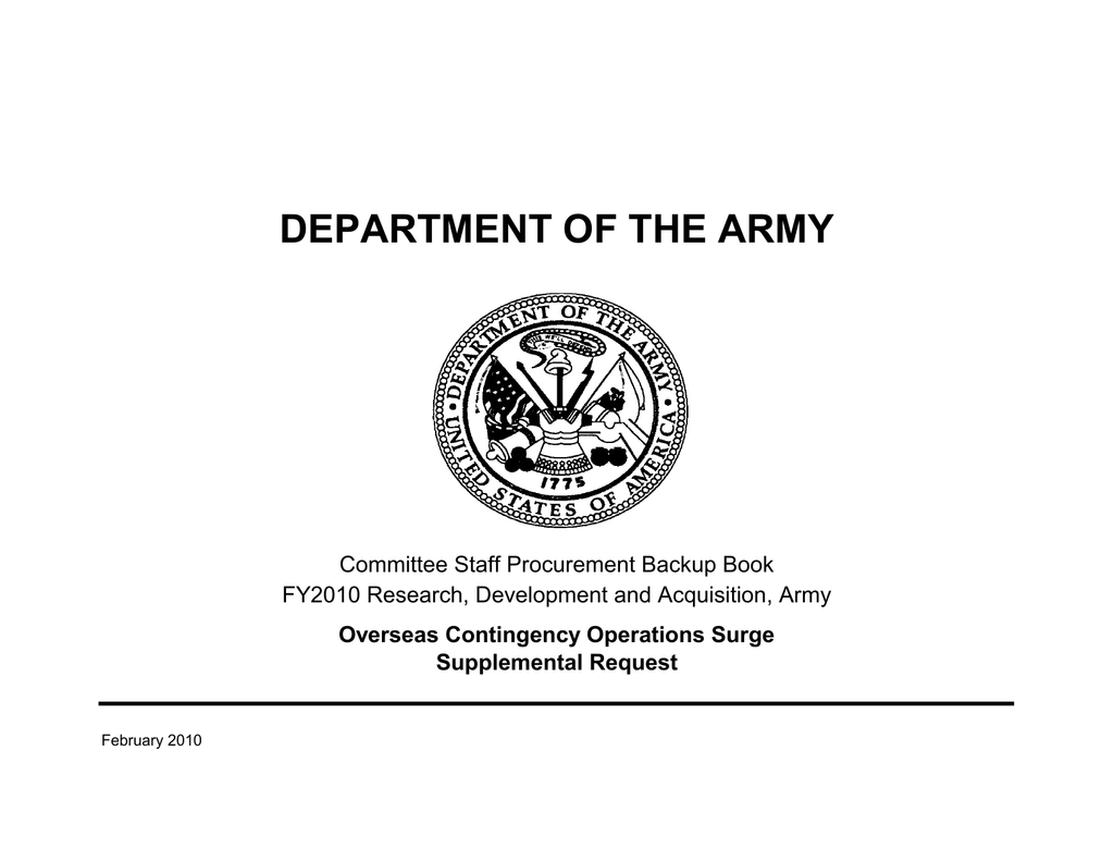 DEPARTMENT OF THE ARMY Committee Staff Procurement Backup Book