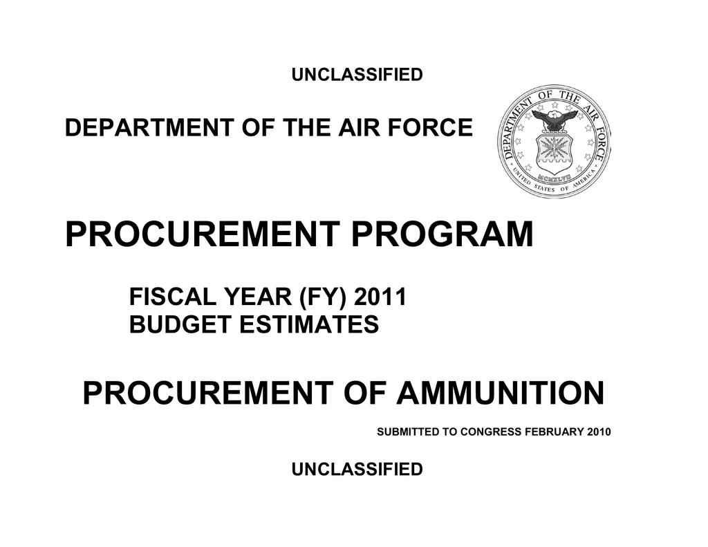 PROCUREMENT PROGRAM PROCUREMENT OF AMMUNITION DEPARTMENT OF