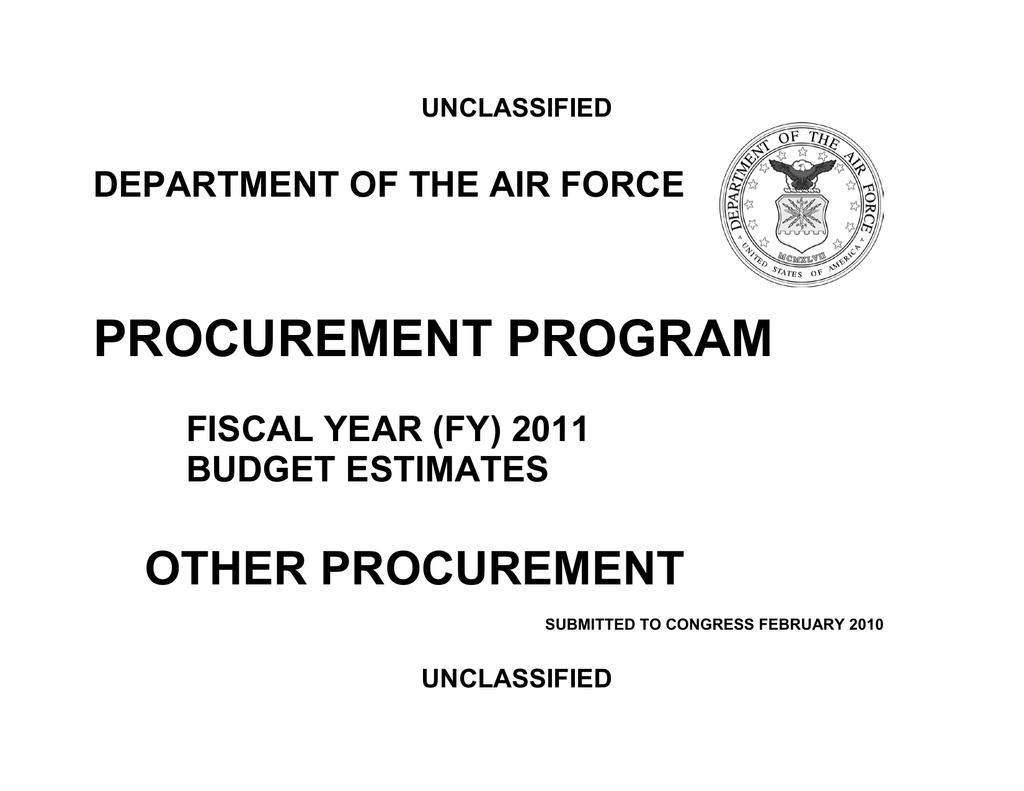 ca217e5a3a PROCUREMENT PROGRAM OTHER PROCUREMENT DEPARTMENT OF THE AIR FORCE