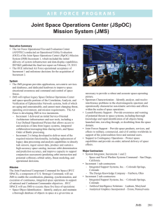 Joint Space Operations Center (JSpOC) Mission System (JMS)