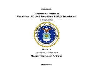 Department of Defense Fiscal Year (FY) 2013 President's Budget Submission Air Force
