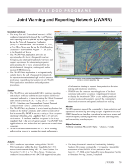 Joint Warning and Reporting Network (JWARN)