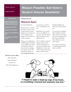 Mission Possible: Ball State's Student Veteran Newsletter Welcome Back!