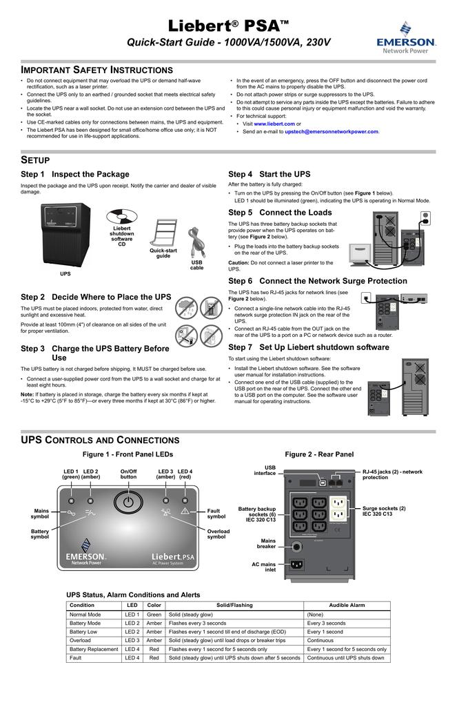 Liebert PSA Quick-Start Guide - 1000VA/1500VA, 230V I
