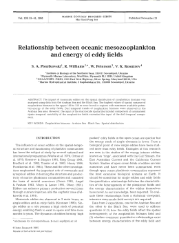 l Relationship between oceanic mesozooplankton and energy of  eddy fields