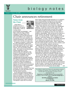 b i o l o g y  n o... Chair announces retirement Notes from