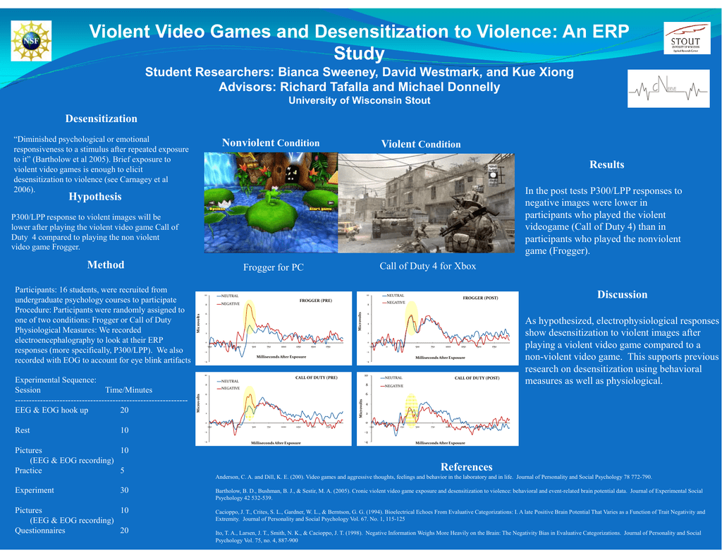 desensitization to violence This study examined the links between desensitization to violent media stimuli and habitual media violence exposure as a predictor and aggressive cognitions and behavior as outcome variables.