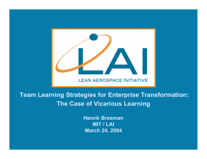 Team Learning Strategies for Enterprise Transformation: The Case of Vicarious Learning