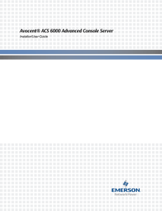 Avocent® ACS 6000 Advanced Console Server Installer/User Guide