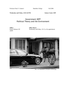 Government 287F Political Theory and the Environment