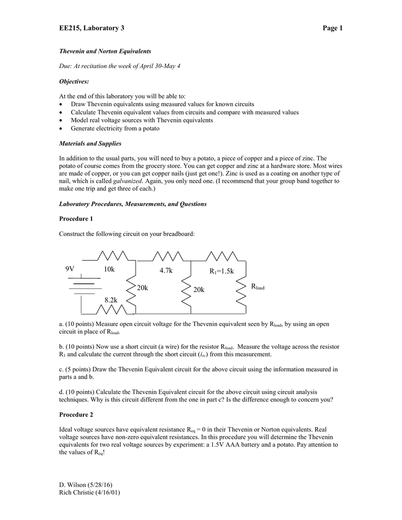 Ee215 Laboratory 3 Page 1 The Thevenin Equivalent Circuit Is Electrical Of B R