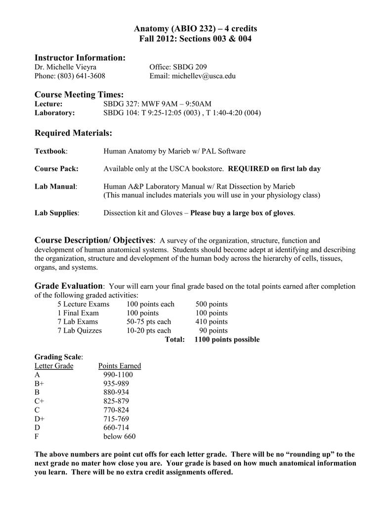 Anatomy (ABIO 232) – 4 credits Instructor Information: Course ...