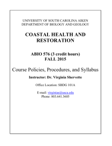 COASTAL HEALTH AND RESTORATION Course Policies, Procedures, and Syllabus