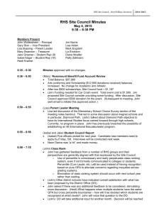 RHS Site Council Minutes May 4, 2015 6:30 – 8:30 PM