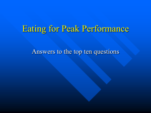 Eating for Peak Performance Answers to the top ten questions