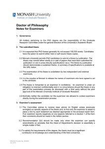 Doctor of Philosophy  Notes for Examiners