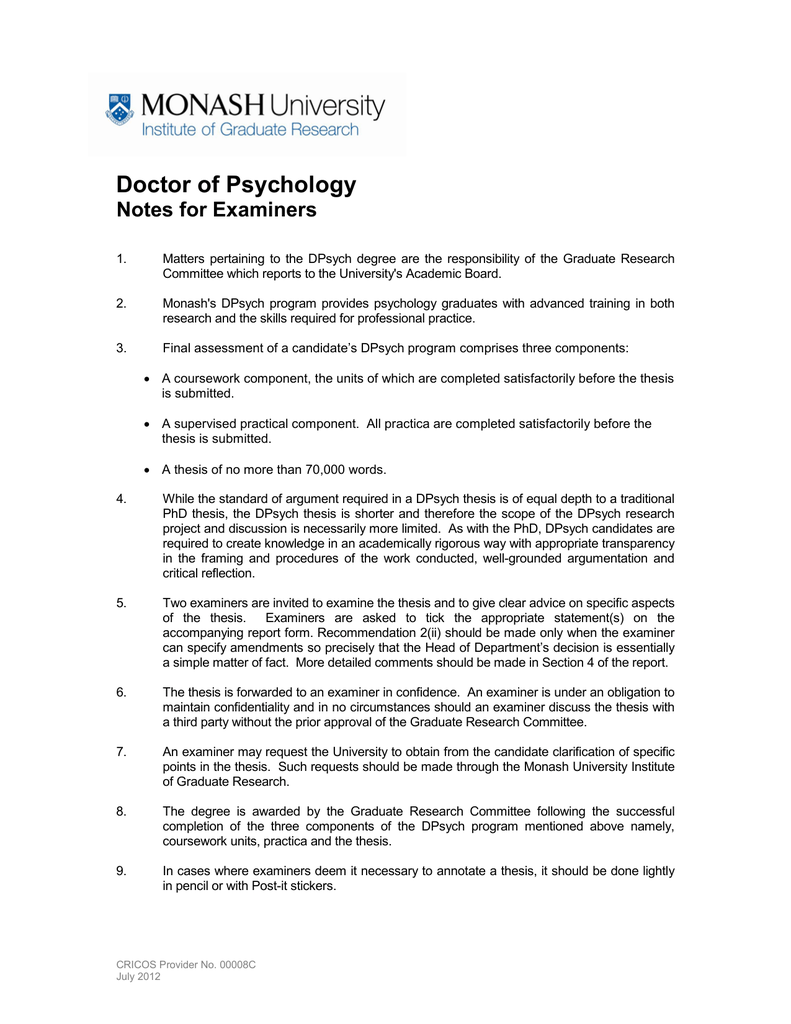 Doctor of Psychology Notes for Examiners