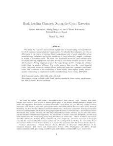 Bank Lending Channels During the Great Recession Federal Reserve Board