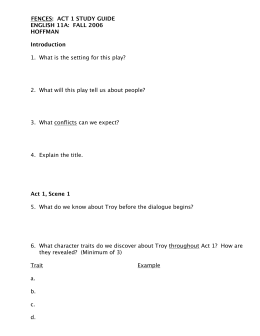 Fences Questions - Shmoop