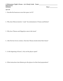 A Midsummer Night's Dream – Act 4 Study Guide  ...  Shakespeare Hoffman