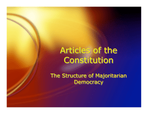Articles of the Constitution The Structure of Majoritarian Democracy