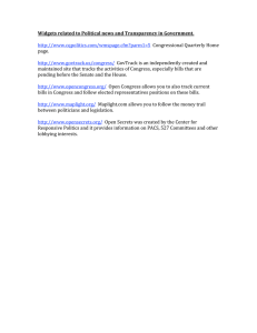 Widgets related to Political news and Transparency in Government.      Congressional Quarterly Home  page.