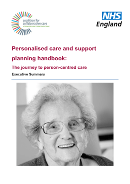 Personalised care and support planning handbook: The journey to person-centred care