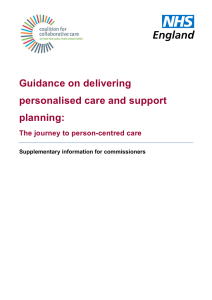 Guidance on delivering personalised care and support planning:
