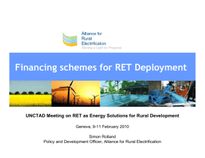 Financing schemes for RET Deployment