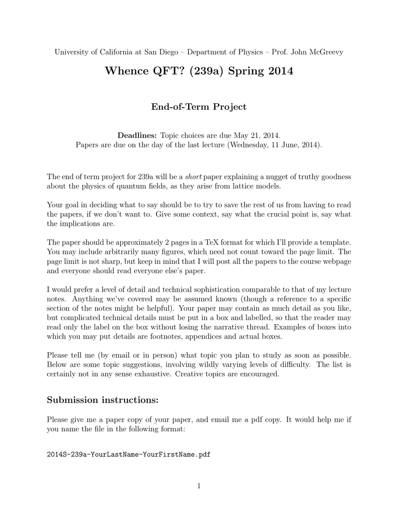 Whence QFT? (239a) Spring 2014 End-of-Term Project