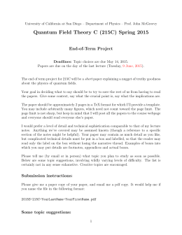 Quantum Field Theory C (215C) Spring 2015 End-of-Term Project