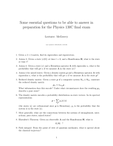 Some essential questions to be able to answer in Lecturer: McGreevy