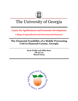 The University of Georgia The Financial Feasibility of a Mobile Processing