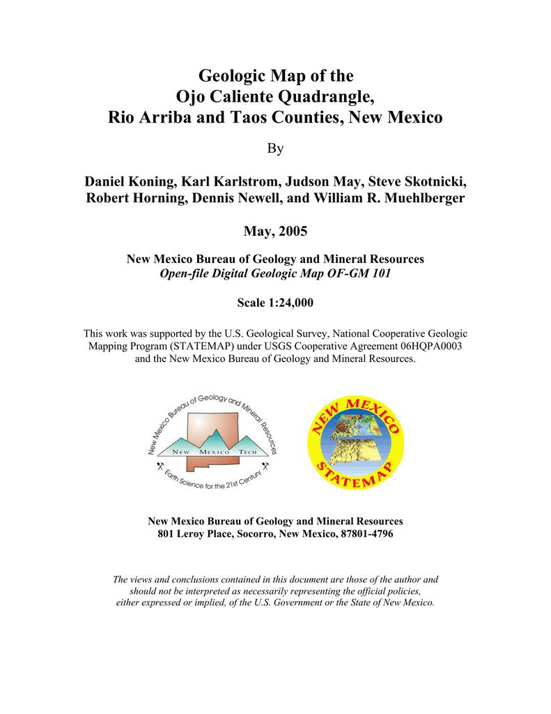 Ojo Caliente New Mexico Map.Geologic Map Of The Ojo Caliente Quadrangle