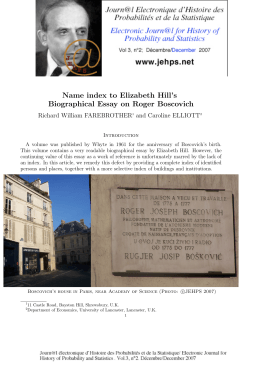 Name index to Elizabeth Hill's Biographical Essay on Roger Boscovich