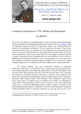 Condorcet and Borda in 1784. Misfits and Documents Éric BRIAN