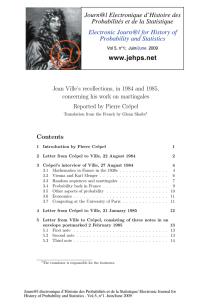 Jean Ville's recollections, in 1984 and 1985, Reported by Pierre Cr´epel