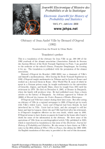 Obituary of Jean-Andr´e Ville by Bernard d'Orgeval (1992) Translator's preface