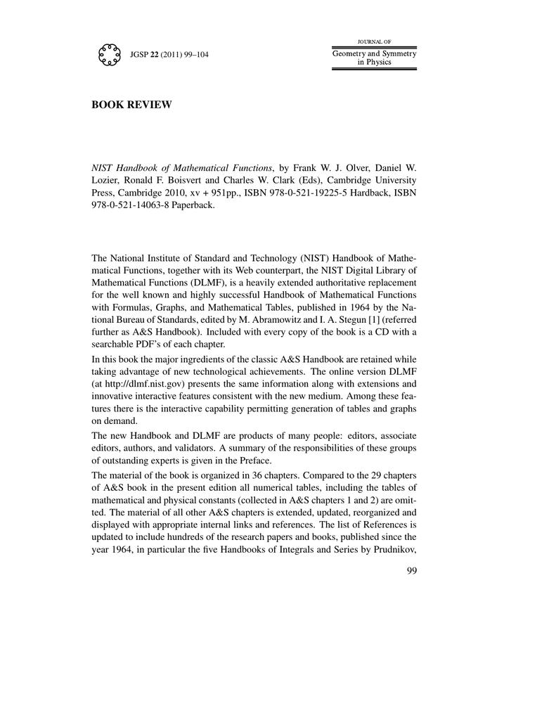 Nist Handbook Of Mathematical Functions Pdf