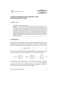 COMPLEX REPRESENTATION THEORY OF THE ELECTROMAGNETIC FIELD ANDREAS ASTE