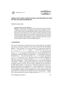 GREEN'S FUNCTION, WAVEFUNCTION AND WIGNER FUNCTION OF THE MIC-KEPLER PROBLEM TOMOYO KANAZAWA