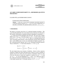 ACCARDI COMPLEMENTARITY IN MECHANICS CLAUDIO PITA and STEPHEN BRUCE SONTZ